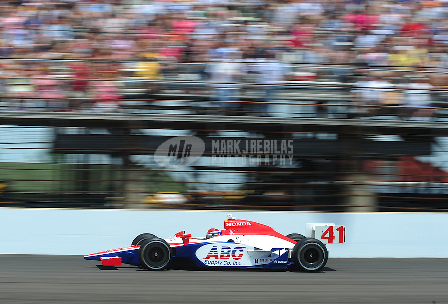 May 25, 2008; Indianapolis, IN, USA; IRL driver Jeff Simmons during the 92nd running of the Indianapolis 500 at the Indianapolis Motor Speedway. Mandatory Credit: Mark J. Rebilas-
