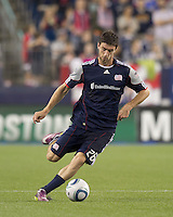 New England Revolution midfielder Stephen McCarthy (26) passes the ball. In a Major League Soccer (MLS) match, the Los Angeles Galaxy defeated the New England Revolution, 1-0, at Gillette Stadium on May 28, 2011.