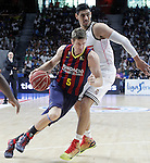 Real Madrid's Gustavo Ayon (r) and FC Barcelona's Justin Doellman during Liga Endesa ACB 2nd Final Match.June 21,2015. (ALTERPHOTOS/Acero)