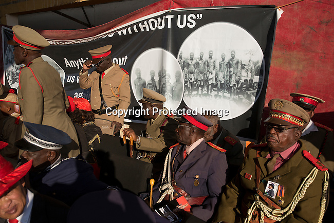 OTJIWARONGO, NAMBIA- AUGUST 12: Herero Paramount chiefs dressed in traditional clothing commemorating fallen chiefs killed in battles with Germans during a day long ceremony in Otjiwarongo, Namibia. <br /> (Photo by Per-Anders Pettersson)
