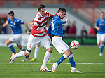 Hamilton Academical St Johnstone....04.04.15<br /> Michael O'Halloran is tackled by Mikey Devlin<br /> Picture by Graeme Hart.<br /> Copyright Perthshire Picture Agency<br /> Tel: 01738 623350  Mobile: 07990 594431