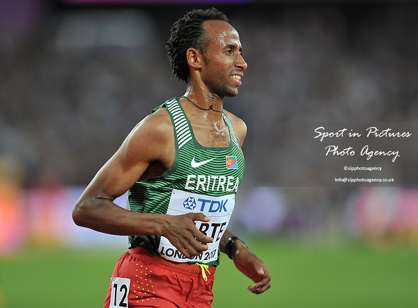 Awet HABTE (ERI) in the mens 5000m final. IAAF world athletics championships. London Olympic stadium. Queen Elizabeth Olympic park. Stratford. London. UK. 12/08/2017. ~ MANDATORY CREDIT Garry Bowden/SIPPA - NO UNAUTHORISED USE - +44 7837 394578