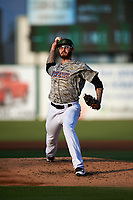 Inland Empire 66ers relief pitcher Sean Isaac (26) delivers a pitch during a California League game against the Lancaster JetHawks at San Manuel Stadium on May 19, 2018 in San Bernardino, California. Inland Empire defeated Lancaster 9-6. (Zachary Lucy/Four Seam Images)
