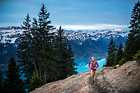Trail running to the Hardergrat, above the Brienzersee, Interlaken, Switzerland