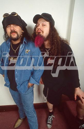 Pantera - Vinnie Paul and Dimebag Darrell Abbott of Pantera- photosession in London UK - 01 May 1996. Photo credit: George Chin/IconicPi