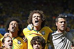 (L-R) Marcelo, David Luiz, Julio Cesar (BRA), JUNE 28, 2014 - Football / Soccer : FIFA World Cup Brazil 2014 round of 16 match between Brazil and Chile at the Mineirao Stadium in Belo Horizonte, Brazil. (Photo by AFLO)