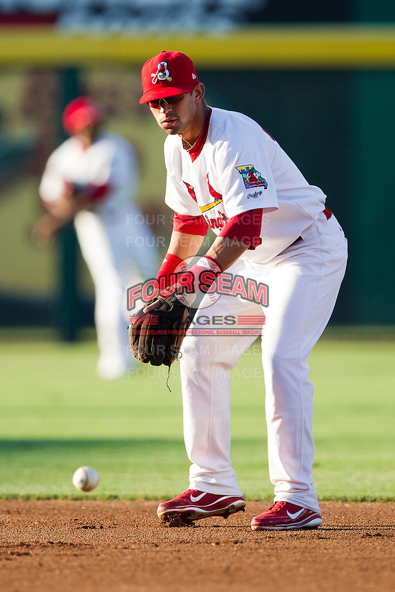 Jose Garcia (3) of the Springfield Cardinals warms up during a game against the Tulsa Drillers at Hammons Field on July 18, 2011 in Springfield, Missouri. Tulsa defeated Springfield 13-8. (David Welker / Four Seam Images)