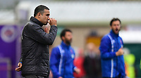 Chesterfield manager Jack Lester bites his finger nails while stood in his technical area<br /> <br /> Photographer Chris Vaughan/CameraSport<br /> <br /> The EFL Sky Bet League Two - Lincoln City v Chesterfield - Saturday 7th October 2017 - Sincil Bank - Lincoln<br /> <br /> World Copyright &copy; 2017 CameraSport. All rights reserved. 43 Linden Ave. Countesthorpe. Leicester. England. LE8 5PG - Tel: +44 (0) 116 277 4147 - admin@camerasport.com - www.camerasport.com