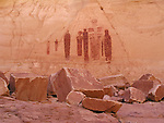 Fremont style pictographs painted on alcove wall, the Great Gallery and Holy Ghost panel, Horseshoe Canyon, Canyonlands, National Park, Utah