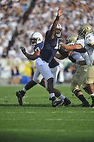 15 September 2012:  Penn State DE Deion Barnes (18) reaches his hand up to tip a pass. The Penn State Nittany Lions defeated the Navy Midshipmen 34-7 at Beaver Stadium in State College, PA..