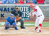 Washington Nationals catcher Wilson Ramos (40) bats in the fourth inning against the Chicago Cubs at Nationals Park in Washington, D.C. on Wednesday, June 15, 2016.  The Nationals won the game 5 - 4 in twelve innings.<br /> Credit: Ron Sachs / CNP