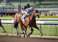 April 7, 2012. Amazombie and Mike Smith win the Potrero Grande Stakes, giving jockey Smith his 5000th career win at Santa Anita Park in Arcadia, CA.