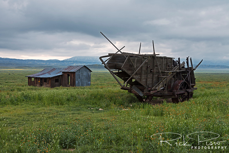 Abandoned farm equipment and tin roofed shack on the Carrizo Plain at Carrizo Plain National Monument in California