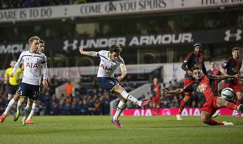 04.03.2015.  London, England. Barclays Premier League. Tottenham Hotspur versus Swansea City. Tottenham Hotspur's Ryan Mason scores to make it 2-1.