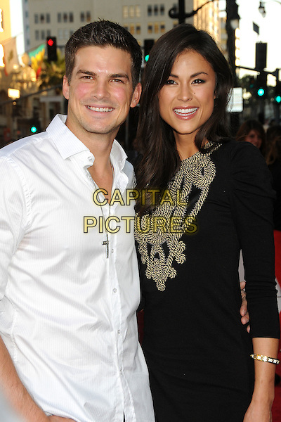 "Rick Malambri, Lisa Mae.""Step Up Revolution"" Los Angeles Premiere held at Grauman's Chinese Theatre, Hollywood, California, USA..July 17th, 2012.half length white shirt black dress rope.CAP/ADM/BP.©Byron Purvis/AdMedia/Capital Pictures."