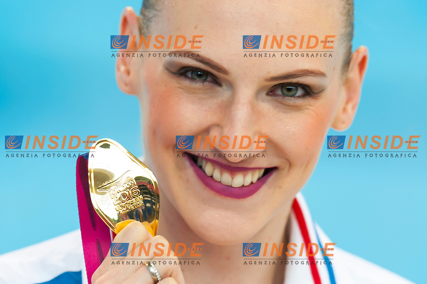 ROMASHINA Svetlana RUS RUSSIA gold medal<br /> London, Queen Elizabeth II Olympic Park Pool <br /> LEN 2016 European Aquatics Elite Championships <br /> Synchro<br /> Solo Technical final <br /> Day 04 12-05-2016<br /> Photo Giorgio Perottino/Deepbluemedia/Insidefoto