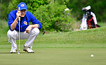 Clayton golfer David Cramer liines up his putt at the 14th hole. Golfers in Suburban Central and Suburban XII Conference schools competed in a tournament at the Gateway National Golf Course in Madison, Illinois on Wednesday April 25, 2018.  Tim Vizer | Special to STLhighschoolsports.com