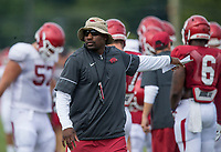 NWA Democrat-Gazette/BEN GOFF @NWABENGOFF<br /> John Scott, Arkansas defensive line coach, Wednesday, Aug. 8, 2018, at the Arkansas practice field in Fayetteville.