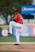 Erie SeaWolves relief pitcher Gerson Moreno (38) delivers a pitch during a game against the Akron RubberDucks on August 27, 2017 at UPMC Park in Erie, Pennsylvania.  Akron defeated Erie 6-4.  (Mike Janes/Four Seam Images)