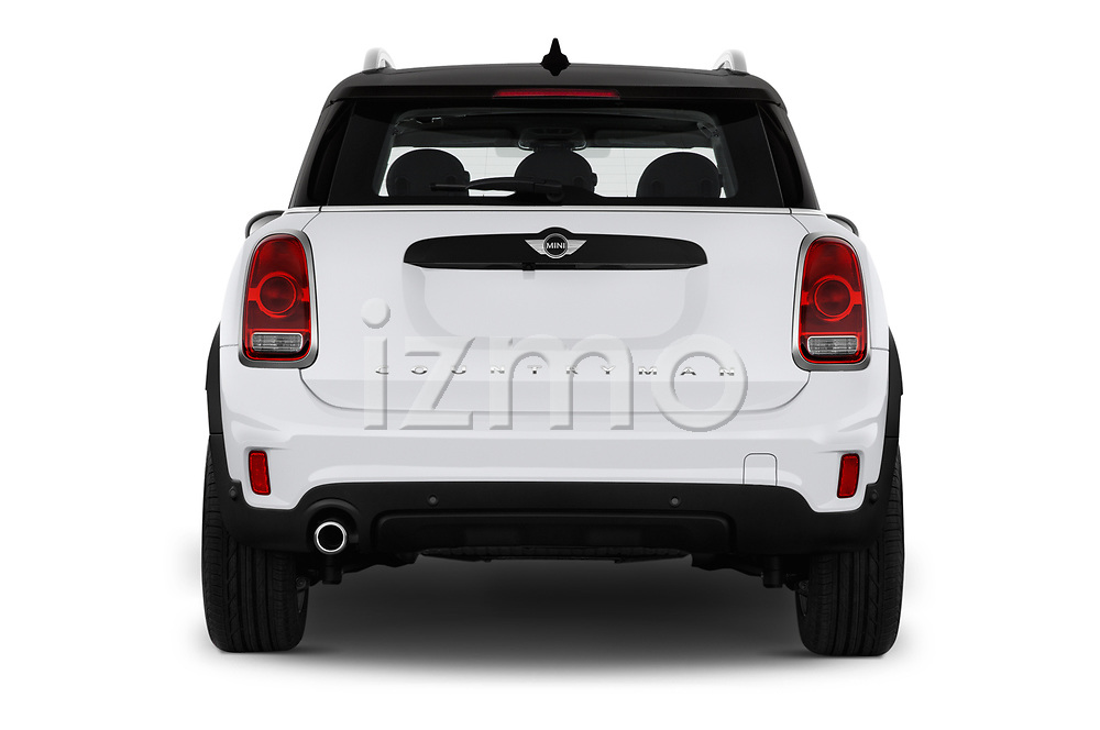 Straight rear view of 2017 MINI Countryman 5-Door 5 Door Hatchback Rear View  stock images