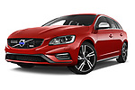 Stock pictures of low aggressive front three quarter view of 2017 Volvo V60 T6-R-Design 5 Door Wagon Low Aggressive