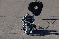 Feb 24, 2017; Chandler, AZ, USA; NHRA top fuel nitro Harley Davidson rider Jake Stordeur during qualifying for the Arizona Nationals at Wild Horse Pass Motorsports Park. Mandatory Credit: Mark J. Rebilas-USA TODAY Sports