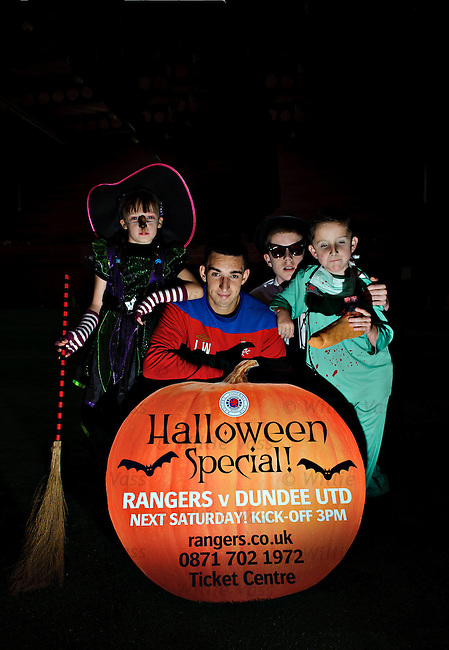 Lee Wallace promoting Halloween kids activities at next weekend's Rangers v Dundee Utd match with kids Elizabeth Bain, Arran Waddell and Ewan Waddell