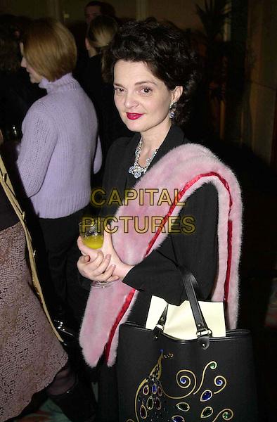 LULU GUINNESS .Jasmine Awards.Ref: JAV.drinking, fur, half length, half-length.www.capitalpictures.com.sales@capitalpictures.com.© Capital Pictures