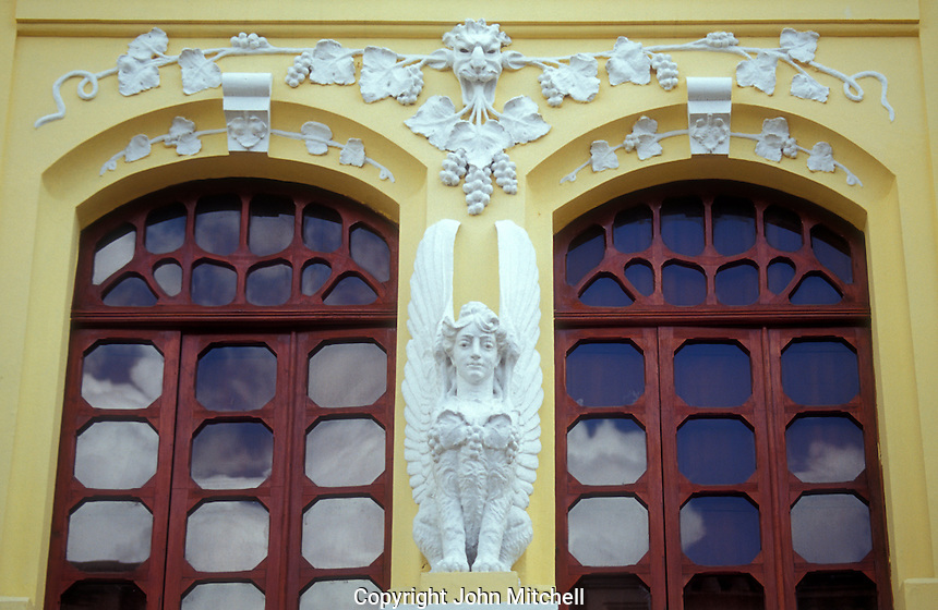 Architectural detail of a restored Spanish colonial building in the Old Town, Quito, Ecuador. Old Quito was made a UNESCO World Heritage Site in 1978.