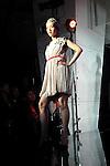 October 16, 2012, Tokyo, Japan - A model poses on the catwalk wearing ''et momonakia'' during Mercedes-Benz Fashion Week Tokyo 2013 Spring/Summer. The Mercedes-Benz Fashion Week Tokyo runs from October 13-20. (Photo by Yumeto Yamazaki/AFLO)