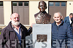 The Athea Community unveils a bronze bust in memory of their greatest son Con Colbert last Sunday afternoon at the Memorial Hall, Grand Nephew Michael Holly (left) from Tarbert with local Athea man Patie O' Sullivan.
