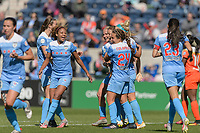 Bridgeview, IL - Saturday May 06, 2017: Casey Short, Danielle Colaprico, Julie Johnston Ertz during a regular season National Women's Soccer League (NWSL) match between the Chicago Red Stars and the Houston Dash at Toyota Park. The Red Stars won 2-0.