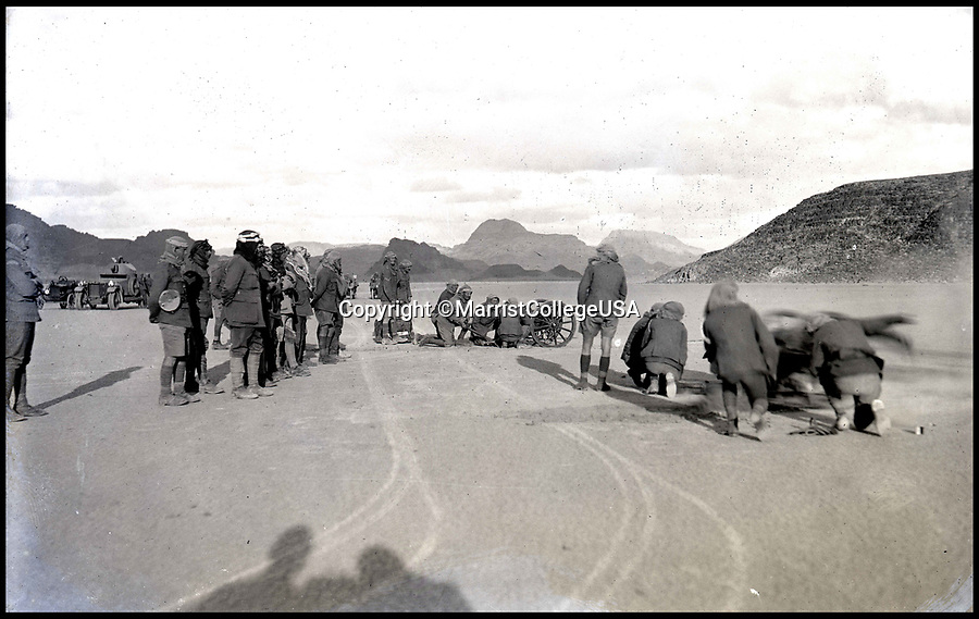 Bournemouth News (01202 558833)<br /> Pic: MarristCollegeUSA/BNPS<br /> <br /> Royal Field Artillery 10-Pounder mountain guns from the motor section training in Wadi Rum in modern day Jordan.<br /> <br /> Fascinating never before seen photos of the Arab Revolt have revealed Lawrence of Arabia actually had help from a plucky band of British troops as well as the Arab tribesmen.<br /> <br /> A new book reveals the legendary campaign, that did much to shape the modern map of the Middle East, used cutting edge weapons like Rolls Royce armoured car's and British crewed aircraft to attack the Turkish enemy alongside the native arab army.<br /> <br /> The photos feature in military historian James Stejskal's new book Masters of Mayhem which sheds new light on T.E Lawrence's achievements fighting alongside Arab guerrilla forces in the Middle East during the First World War.<br /> <br /> They had been tucked away in the private photo albums of the descendants of soldiers who fought alongside Lawrence during the campaign.<br /> <br /> One historically important photo shows Lawrence and his driver sitting in a Rolls Royce in Marjeh Square in Damascus after it was captured in October 1918.<br /> <br /> Another documents the dramatic moment a water tower and windmill pump are blown up in the desert.