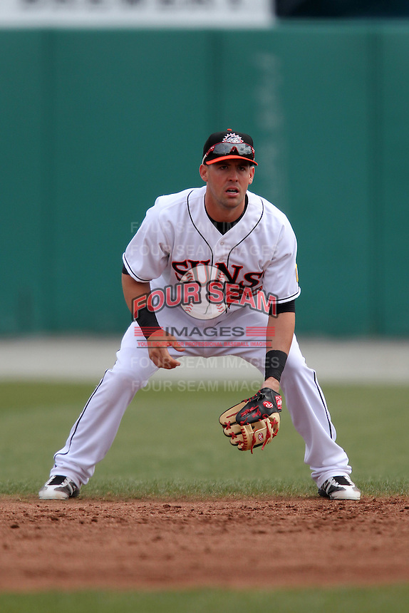 Hagerstown Suns shortstop Jason Martinson #20 during a game against the Lexington Legends at Municipal Park on April 11, 2012 in Hagerstown, Maryland.  Lexington defeated Hagerstown 3-0.  (Mike Janes/Four Seam Images)