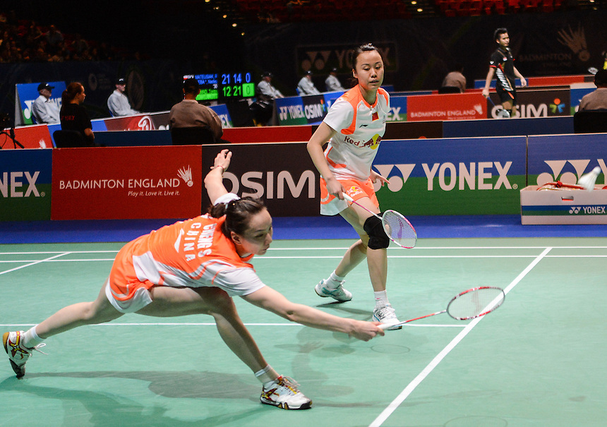 Shu CHENG [CHN] and Yunlei ZHAO [CHN] in action today during their victory over Duanganong AROONKESORN [8] [THA] and Kunchala VORAVICHITCHAIKUL [THA]  in their Women's Doubles Quarter final match. Shu CHENG [CHN] and Yunlei ZHAO [CHN] bt Duanganong AROONKESORN [8] [THA] and Kunchala VORAVICHITCHAIKUL [THA]   21-19 21-19..BWF -  2013 Yonex All England Badminton Championships Super Series Premier - The National Indoor Arena - Birmingham - England - Friday 08th March 2013..© CameraSport - 43 Linden Ave. Countesthorpe. Leicester. England. LE8 5PG - Tel: +44 (0) 116 277 4147 - admin@camerasport.com - www.camerasport.com