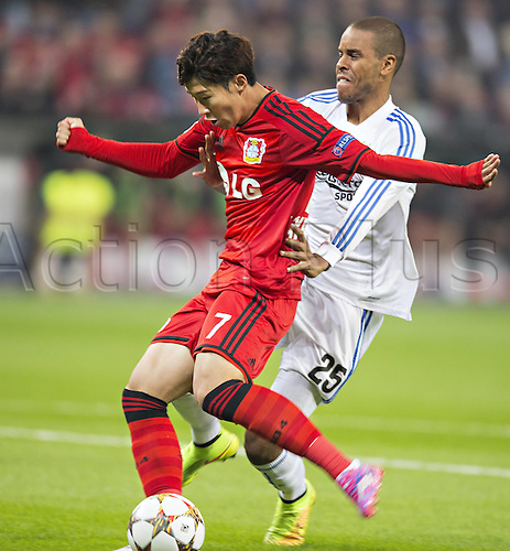 27.08.2014. Leverkusen, Germany. UEFA Champions League qualification match. Bayer Leverkusen versus FC Copenhagen. Goal scored for 1:0 by Heung-Min Son (Bayer)