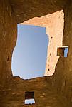 Pueblo Bonito, walls, doors, sky..Chaco Culture National Historical Park