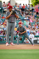 Lehigh Valley IronPigs third baseman Mitch Walding (10) during a game against the Rochester Red Wings on June 29, 2018 at Frontier Field in Rochester, New York.  Lehigh Valley defeated Rochester 2-1.  (Mike Janes/Four Seam Images)