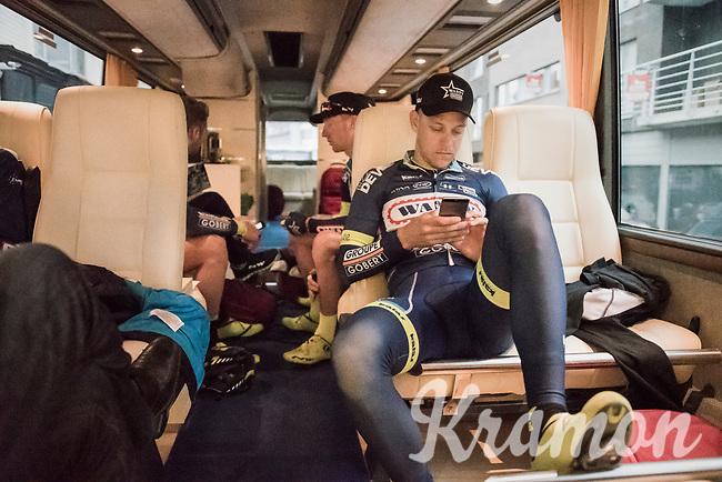 pre-race relaxing for Wesley Kreder (Ned/Wanty-Groupe Gobert) on the teambus<br /> <br /> 105th Scheldeprijs 2017 (1.HC)<br /> 1 Day Race: Mol &rsaquo; Schoten (BEL/202km)