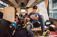 pre-race relaxing for Wesley Kreder (Ned/Wanty-Groupe Gobert) on the teambus<br /> <br /> 105th Scheldeprijs 2017 (1.HC)<br /> 1 Day Race: Mol &rsaquo; Schoten (BEL/202km)