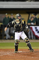 UCF Knights catcher Logan Heiser (23) during the opening game of the season against the Siena Saints on February 13, 2015 at Jay Bergman Field in Orlando, Florida.  UCF defeated Siena 4-1.  (Mike Janes/Four Seam Images)