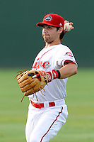 Second baseman Reed Gragnani (7) of the Greenville Drive before a game against the Rome Braves on Thursday, August 22, 2013, at Fluor Field at the West End in Greenville, South Carolina. Gragnani was a 21st-round pick out of the University of Virginia by the Boston Red Sox in the 2013 First-Year Player Draft. Rome won, 7-3. (Tom Priddy/Four Seam Images)