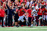College Park, MD - SEPT 22, 2018: Maryland Terrapins wide receiver DJ Turner (1) catches a pass on the sideline and takes it in for a touchdown during game between Maryland and Minnesota at Capital One Field at Maryland Stadium in College Park, MD. The Terrapins defeated the Golden Bears 42-13 to move to 3-1 on the season. (Photo by Phil Peters/Media Images International)