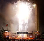 New Year 2008 Fireworks in Toronto, Nathan Philips Square, Ontario, Canada.