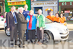 Castleisland Credit Union manager presents Breda Cleary Stacks Villa, Tralee keys to a new Citroen C4 which she won in the Tralee Credit Union car draw l-r: Billy Naughton, Fintan Ryan, Seamus Scanlon, Breda, Francis Cleary, Suzanne Ennis, Orla O'Shea and Derry Fleming