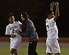Ziyad Gawish #17 of Mepham, right, celebrates after his team's 1-0 win over Garden City in the Nassau County varsity boys soccer Class A final at Mitchel Athletic Complex in Uniondale on Wednesday, Oct. 31, 2018.