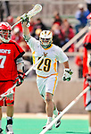 19 March 2011: University of Vermont Catamount Midfielder Luke Ryder, a Sophomore from Worcester, MA, celebrates a goal against the St. John's University Red Storm at Moulton Winder Field in Burlington, Vermont. The Catamounts defeated the visiting Red Storm 14-9. Mandatory Credit: Ed Wolfstein Photo