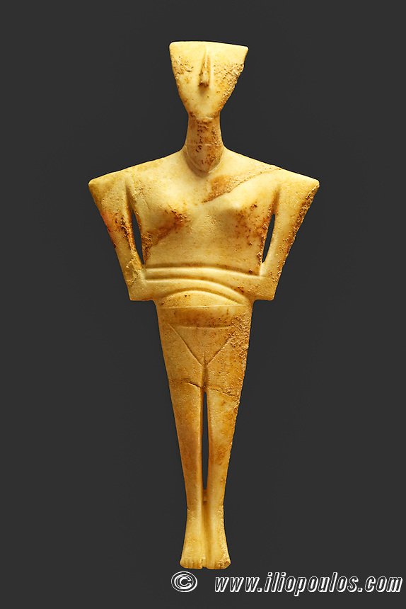 Marble female figurine of the Early Cycladic folded-arm type (2800-2300 B.C.) in National Museum, Greece