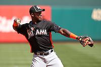 Miami Marlins third baseman Hanley Ramirez #2 during batting practice before a game against the Philadelphia Phillies at Citizens Bank Park on April 9, 2012 in Philadelphia, Pennsylvania.  Miami defeated Philadelphia 6-2.  (Mike Janes/Four Seam Images)