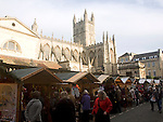 Christmas market Abbey church, Bath, England